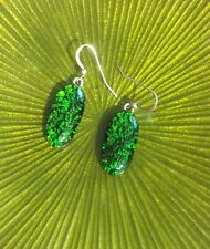 SALE Green Crinkle Pattern Fused Dichroic Art Glass  Jewelry Dangle Earrings (s)