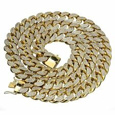 18 mm 30 inch Gold Finish Miami Curb Cuban Lab Diamond Iced Out Heavy Mens Chain