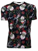 Men's Sugar Skull Santa Reindeer Rose Candy Canes Christmas V-Neck T-Shirt Top