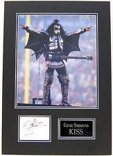 Gene Simmons Genuine Hand Signed Photo Mount Display KISS AFTAL COA (A)
