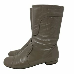 Chie Mihara Gray Mid Calf Patent Leather Boots