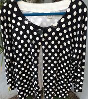 Evie Women SZ XL Black Polka dot 3/4 Sleeve Cardigan Sweater