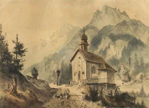 Charles Brizzi (1822–1876) Kapelle Unser Herr im Elend Tirol Zeichnung 1869
