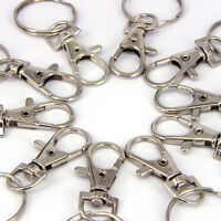 10/20pcs Silver Charm Swivel Clip Lobster Clasps Hook Trigger Key Ring Gift.w/