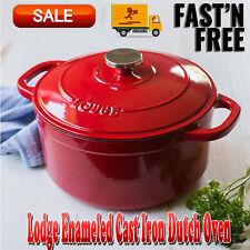 Lodge Enameled Cast Iron 5.5 Qt Dutch Oven, Pots & Pans, Cast Iron Cookware, Red