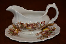 Ridgway Staffordshire Devon Fruit England Gravy Boat and Plate