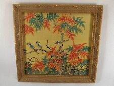 Beautiful Silk Tapestry of Blue Birds & Tree Gold Leaf Carved Frame Picture Art