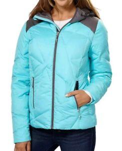 Spyder Bernese Ski Jacket Coat Women's XS X-Small Down Hooded Blue Grey NEW $400