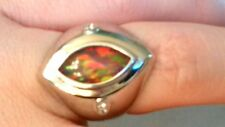6 Ladies Flaming Eye Sapphire Black RED FIRE Opal Ring Sterling Silver 925