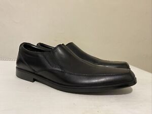 NEW MENS CLARKS BOOTLEG HOXTON GENT BLACK LEATHER SLIP ON SHOES LOAFERS UK 6 G