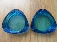 2 VINTAGE WALKER BITTER GLASS ASH TRAY'S - Blue - Man Cave - Home Bar