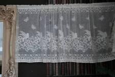 """Vintage Secret Garden cafe curtain Cream Nottingham lace valance brise-bise 18"""""""