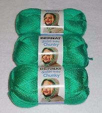 "Bernat Softee ""Baby"" Chunky Yarn Lot Of 3 Skeins (Dragon Green #96009) 5 oz."