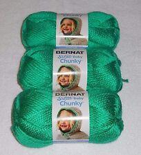 "Bernat Softee ""Baby"" Chunky Yarn Lot Of 3 Skeins (Dragon Green #96009) 5 oz."