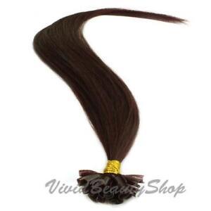 200 Pre Glue Bond U Nail Tip Straight Remy Human Hair Extensions Dark Brown #2