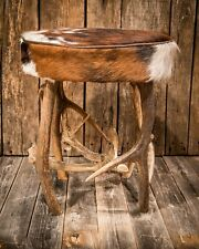 """Snowmass"" Antler and Cowhide Round Stool"