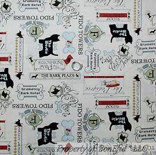 BonEful FABRIC FQ Cotton Quilt White Black Red Bone Food Dog Puppy Toile Hotel S