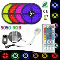 LED Strip Light 5050 RGB 5/10M 300 N-Waterproof 12V IR Controller Power Adaptor