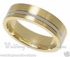 10K Two Tone White & Yellow Gold Wedding Band Men Man Satin Finish Flat Ring 6mm