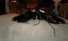 tuxedo shoes, real patent leather, size 8W, oxford style; frederico Leone