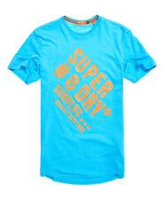 Neues Herren Superdry  Langes Surplus Goods T-Shirt mit Grafik Blau