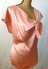 Lafayette 148 New York - Pink Luxe 100% SILK Charmeuse Blouse with  BOW** US 16