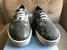 LANVIN COOL GREY CANVAS VULCANIZED TIE DYE PRINT LOW TOP SNEAKERS SHOES 9 42