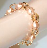 PULSERA oro mujer cadena de anillos pulidos satinatos elegante cerimonia A35