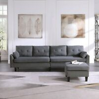 4-Seaters Sectional Sofa/Couch Upholstered with Storage Ottoman Living Room