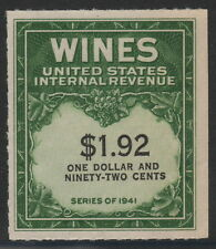 USA, #RE152 VF unused $1.92 yellow green and black wine stamp issued in 1942