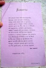 1873 BELLISSIMO SONETTO PER LA CANTANTE LIRICA MILANESE ANNETTA CAMPI A FIRENZE