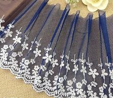 """1Y~8""""~ Embroidered Lace Trimming Floral Bunch Dress Sewing Dark-Blue"""