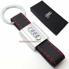 Audi Leather Key Ring Case Holder Ring Chain Fob For Audi  A3 A4 A5 Q3 Q5 Sline