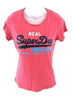 SUPERDRY Womens T Shirt Top S Small Pink Cotton