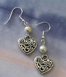 Brighton Contempo Hearts Deco Pearl Beads Silver Scrollwork Custom Earrings