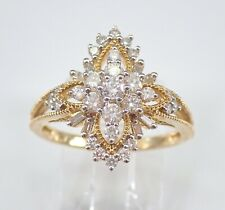 Hand Ring Yellow Gold Size 7 3/4 carat Diamond Cluster Cocktail Ring Right