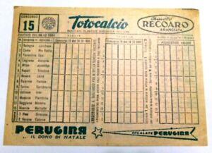 VECCHIO GADGET CALCIO FOOTBALL SCHEDINA TOTOCALCIO 16 DICEMBRE 1951 PERUGINA