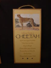 "Advice From A Cheetah Wisdom Love 5"" x 10"" Wood Sign wall Hanging Plaque big cat"