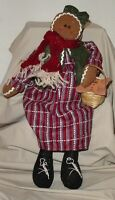 """GINGERBREAD GIRL DOLL Shelf Sitter 15"""" Tall Basket & Cookie Christmas Holiday"""