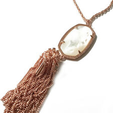 NEW! Kendra Scott Rayne Rose Gold Mother of Pearl Long Necklace Tassel Dust Cvr