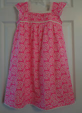 NIB~ Mini Boden Bight Pink Floral Summer Floaty Ruffle Dress ~ Girl's 2-3