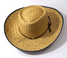Vintage, Mexican-made, Wide-brim Straw Western Style Hat with Contrasting Edge