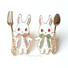Set of 2 Enamel Pin Brooches (Bunny Rabbit Fork & Spoon) Cute Kawaii Pin Badge