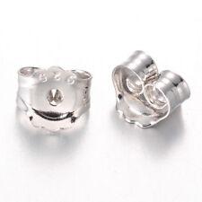 20pc Sterling Silver Ear Nuts Stopper Platinum Butterfly Earring Backs 5x4mm