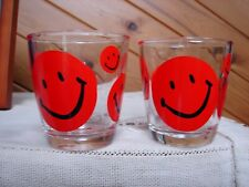 2 Vintage Sour Cream Glasses - Red Smiley Face