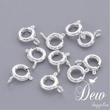 50pcs Brass Spring Ring Clasps, Jewelry Findings, Silver Color,6mm Dew Supplies