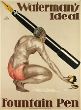 Affiche Originale - Waterman's Ideal - Stylo Plume - Africain - 1920