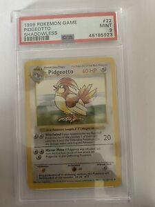 Shadowless Pidgeotto Non-Holo 1999 WOTC Pokemon Card 22/102 Base Set PSA 9 MINT