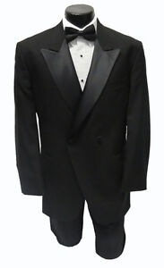 60L NEW Designer 100% Wool Peak Lapel Tuxedo Jacket Halloween Costume Discount