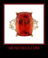White Cubic Zirconia Fashion Ring 10K Yellow Gold Burnt Orange &
